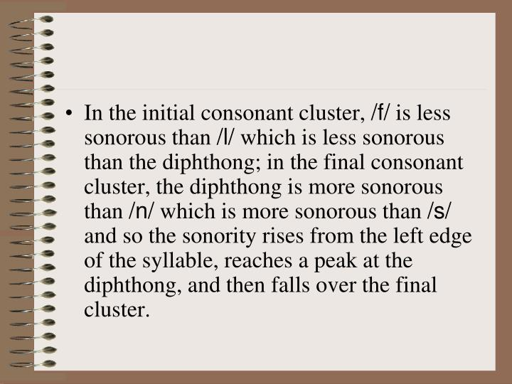 In the initial consonant cluster,