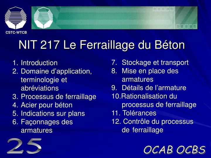 NIT 217 Le Ferraillage du Béton