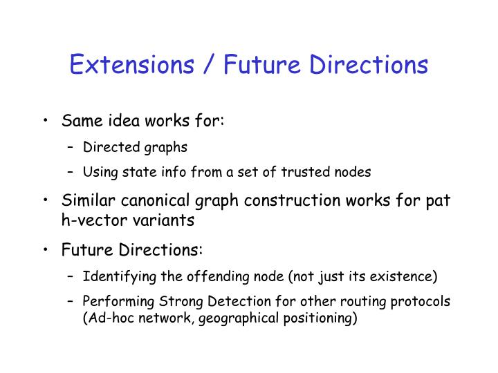 Extensions / Future Directions