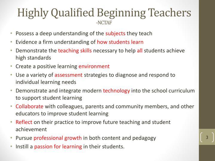 Highly Qualified Beginning Teachers