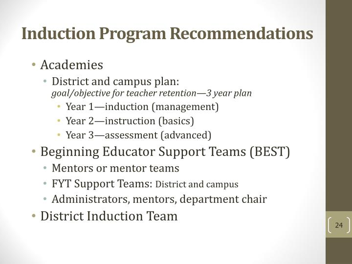 Induction Program Recommendations