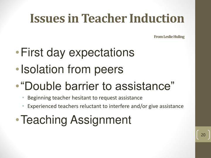 Issues in Teacher Induction