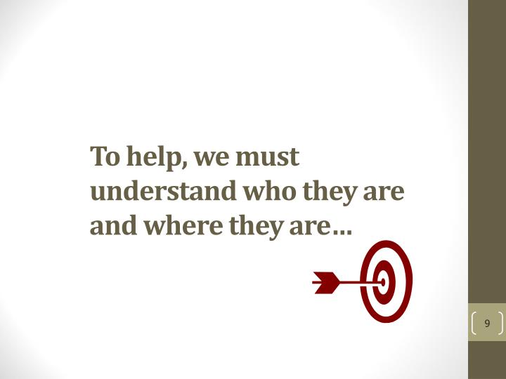 To help, we must understand who they are and where they are…