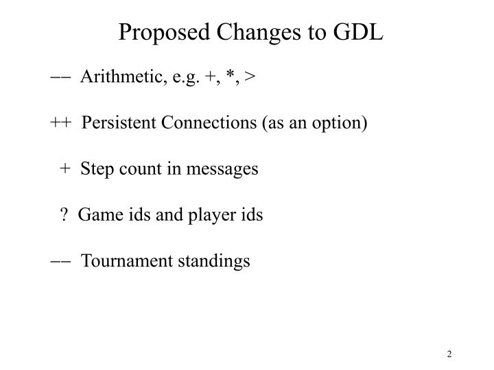 Proposed Changes to GDL