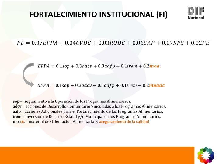FORTALECIMIENTO INSTITUCIONAL (FI)