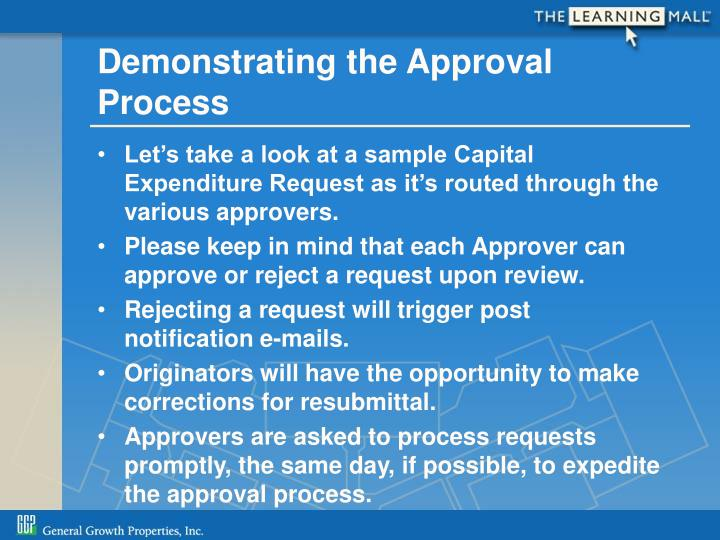 Demonstrating the Approval Process