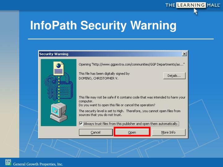 InfoPath Security Warning