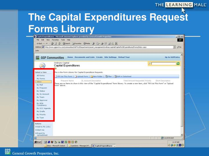 The Capital Expenditures Request Forms Library