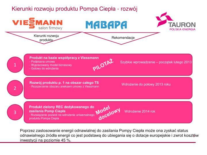 Kierunki rozwoju produktu Pompa Ciepła - rozwój