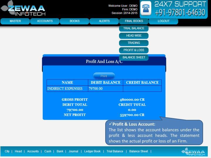Profit & Loss Account:
