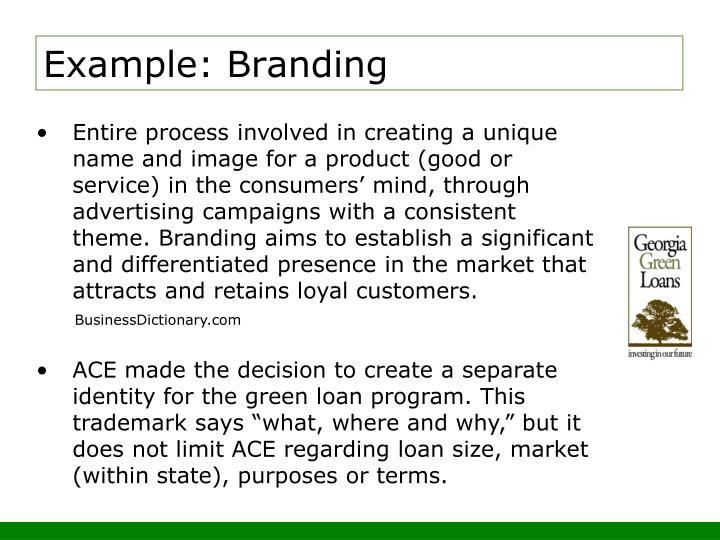 Example: Branding