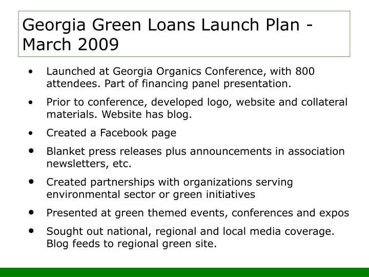 Georgia Green Loans Launch Plan -