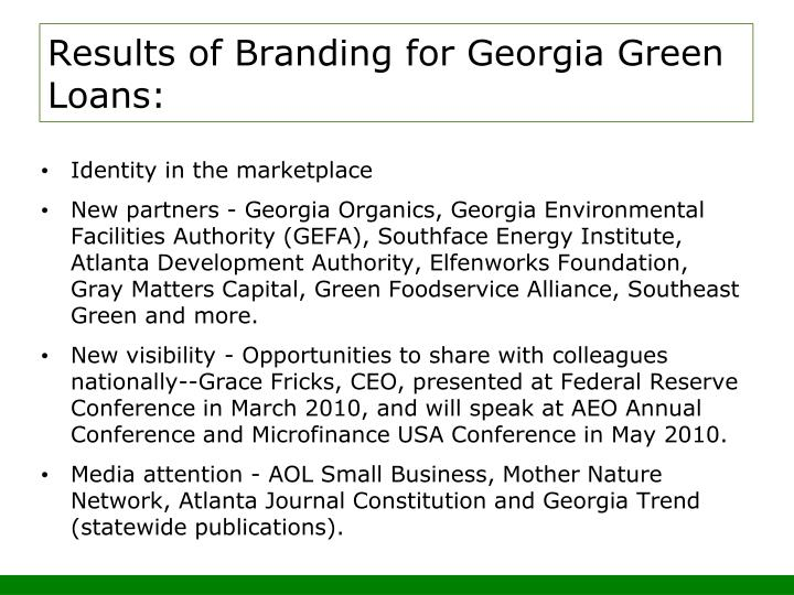 Results of Branding for Georgia Green Loans: