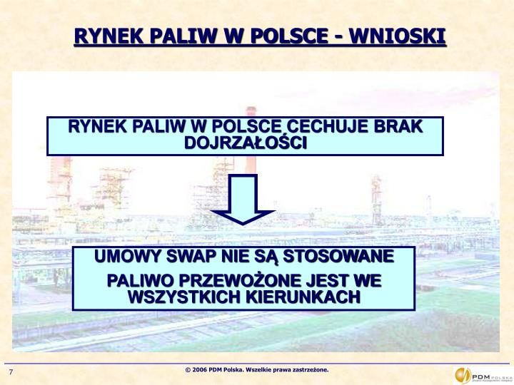 RYNEK PALIW W POLSCE - WNIOSKI