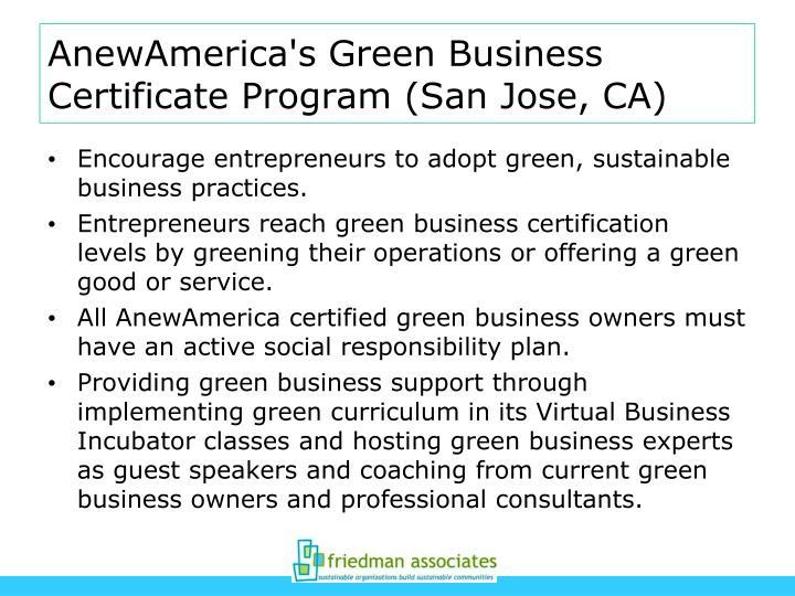 AnewAmerica's Green Business Certificate Program (San Jose, CA)