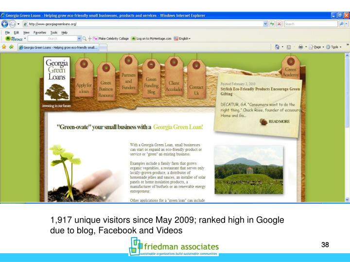 1,917 unique visitors since May 2009; ranked high in Google due to blog, Facebook and Videos