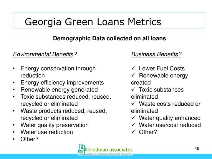 Georgia Green Loans Metrics
