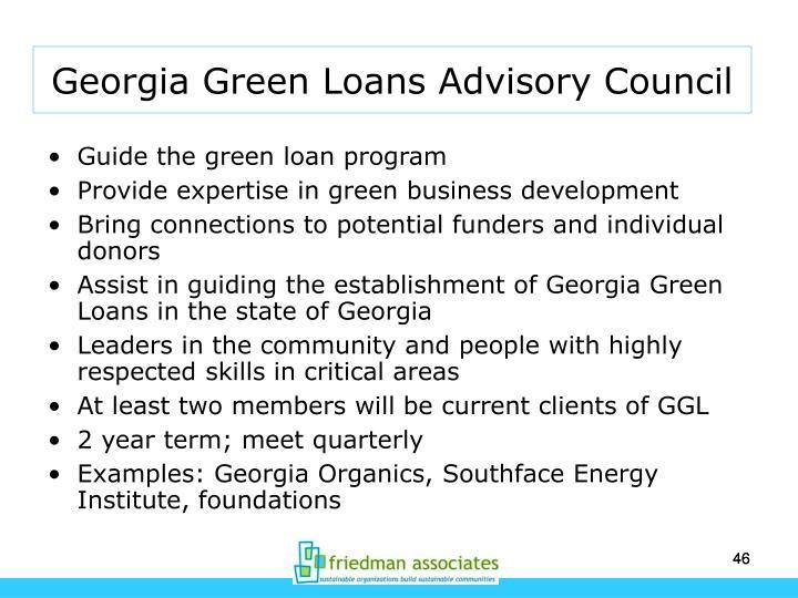 Georgia Green Loans Advisory Council