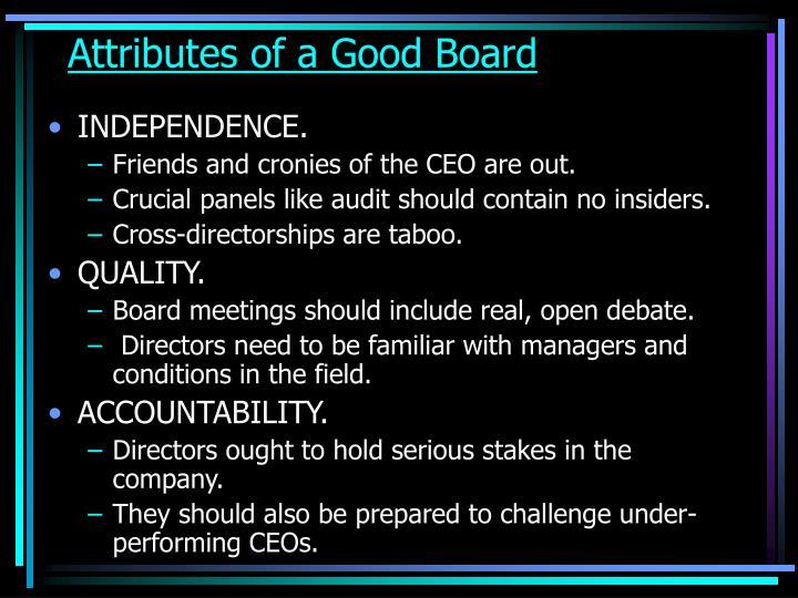Attributes of a Good Board