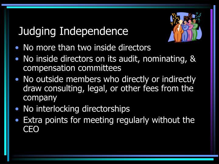 Judging Independence
