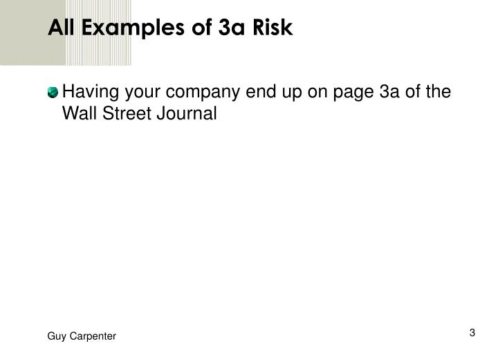 All Examples of 3a Risk