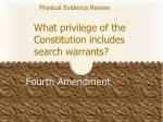 what privilege of the constitution includes search warrants