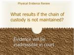 what results if the chain of custody is not maintained