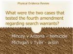 what were the two cases that tested the fourth amendment regarding search warrants