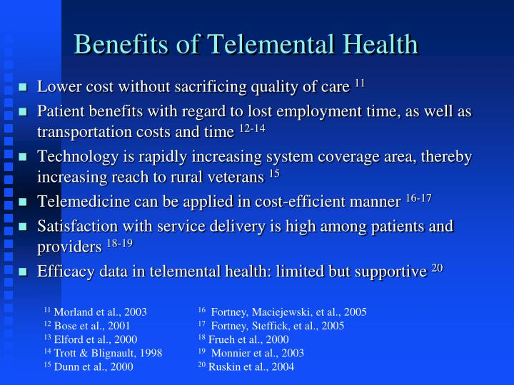 Benefits of Telemental Health