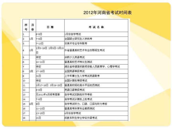 2012年河南省考试时间表