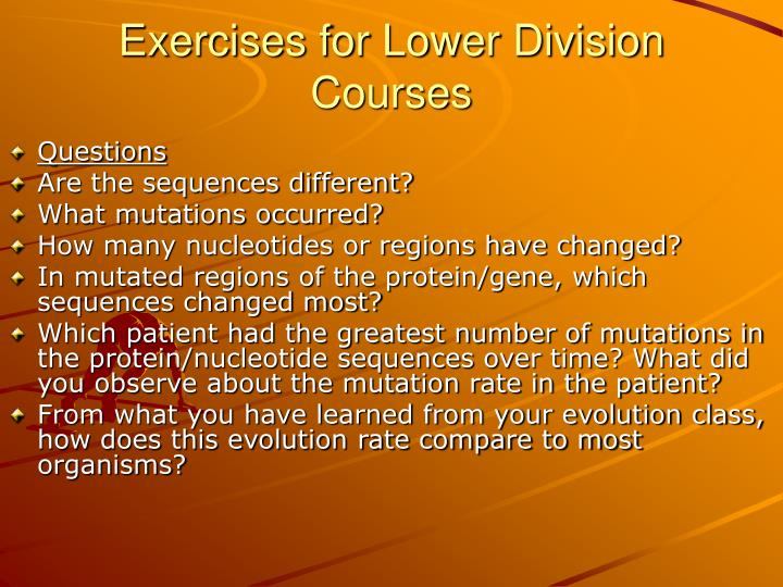 Exercises for Lower Division Courses