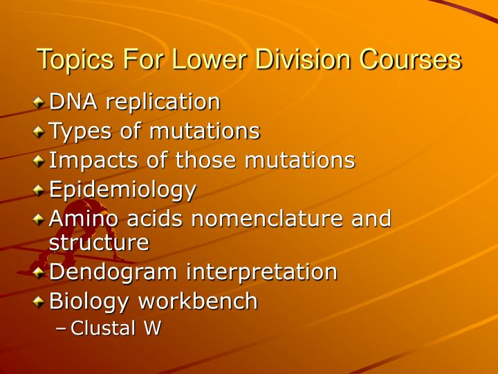 Topics For Lower Division Courses