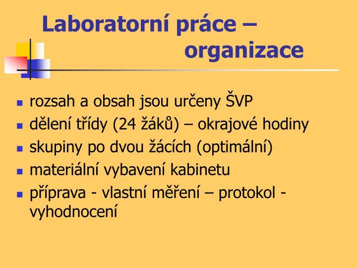 Laboratorní práce – organizace