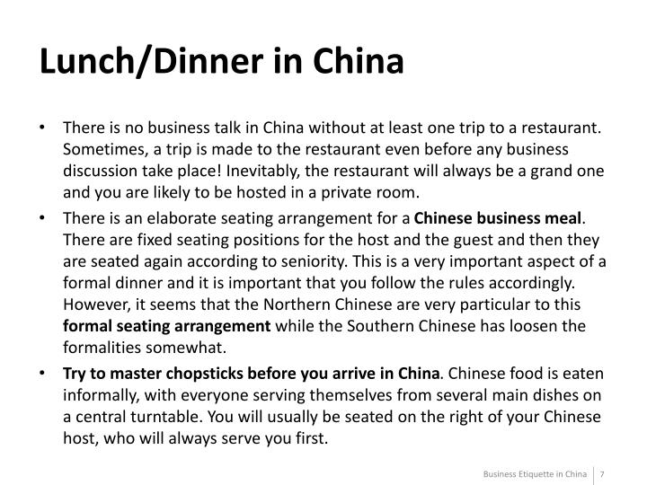 Lunch/Dinner in China