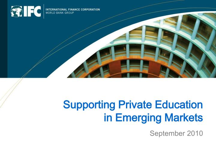 Supporting Private Education