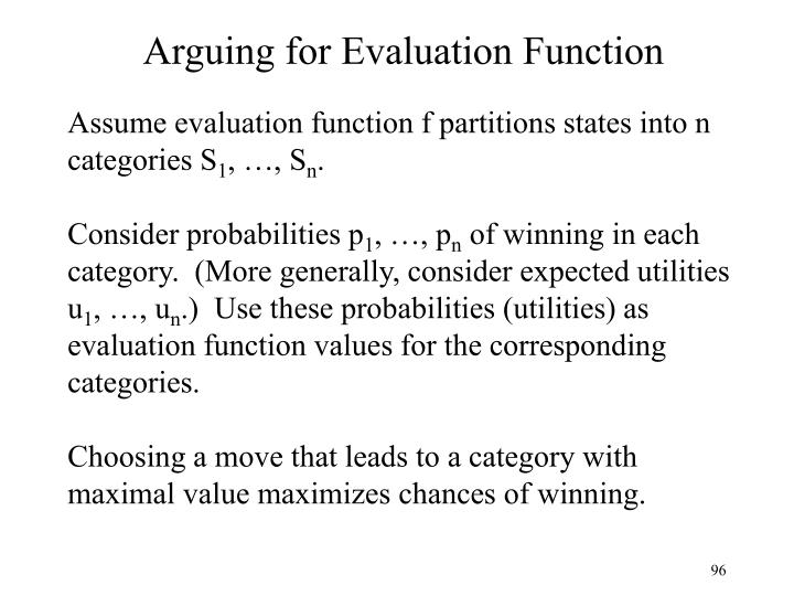 Arguing for Evaluation Function