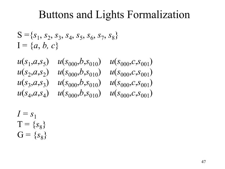 Buttons and Lights Formalization