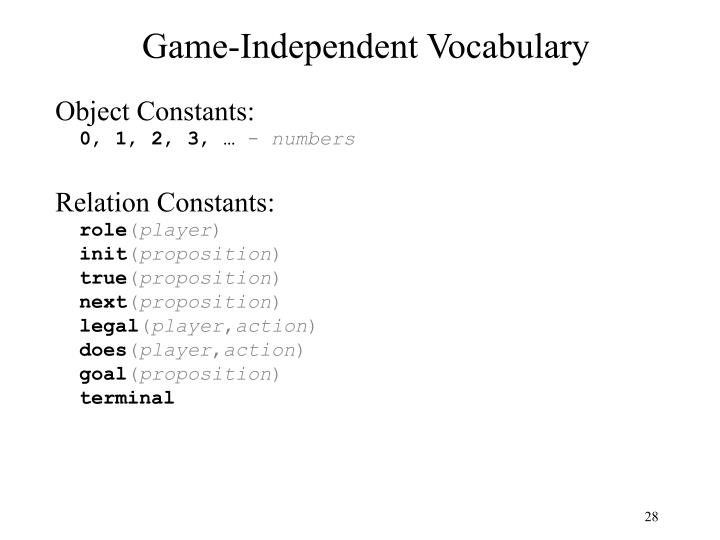 Game-Independent Vocabulary