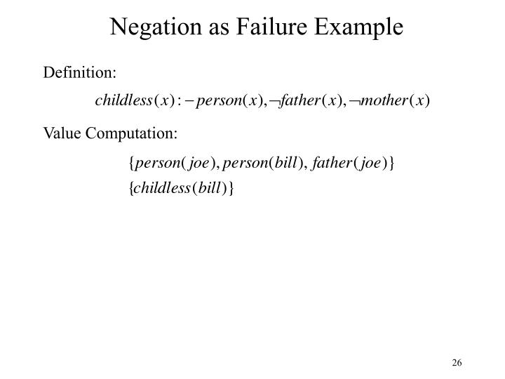 Negation as Failure Example