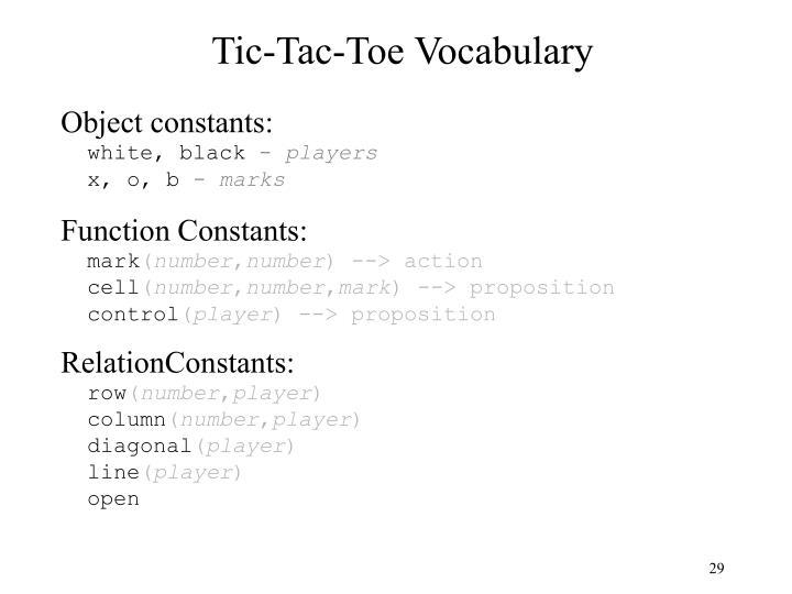 Tic-Tac-Toe Vocabulary