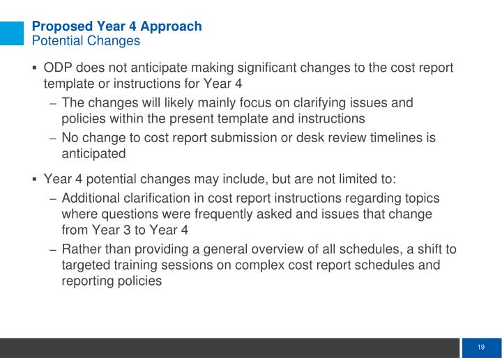Proposed Year 4 Approach