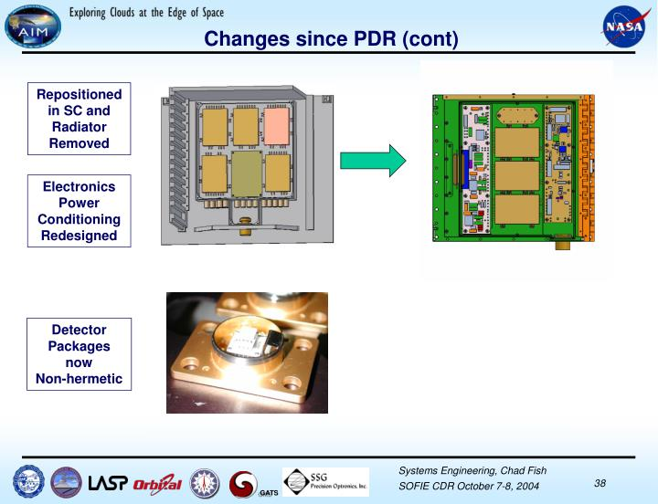 Changes since PDR (cont)