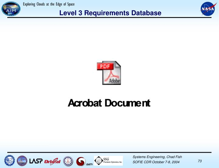 Level 3 Requirements Database