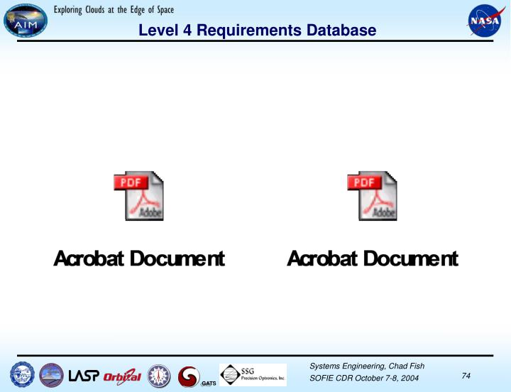 Level 4 Requirements Database