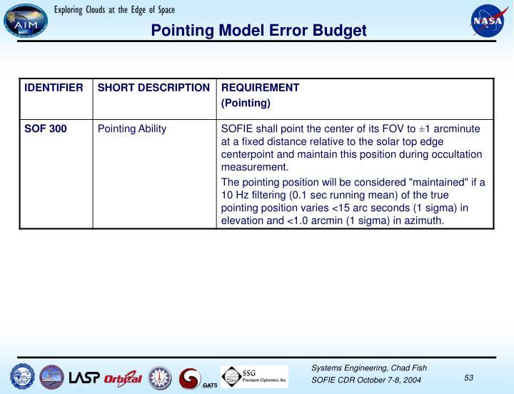Pointing Model Error Budget