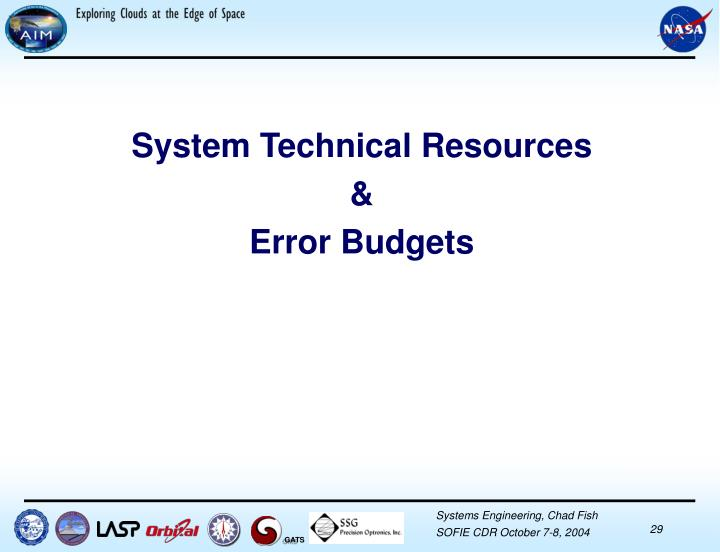 System Technical Resources