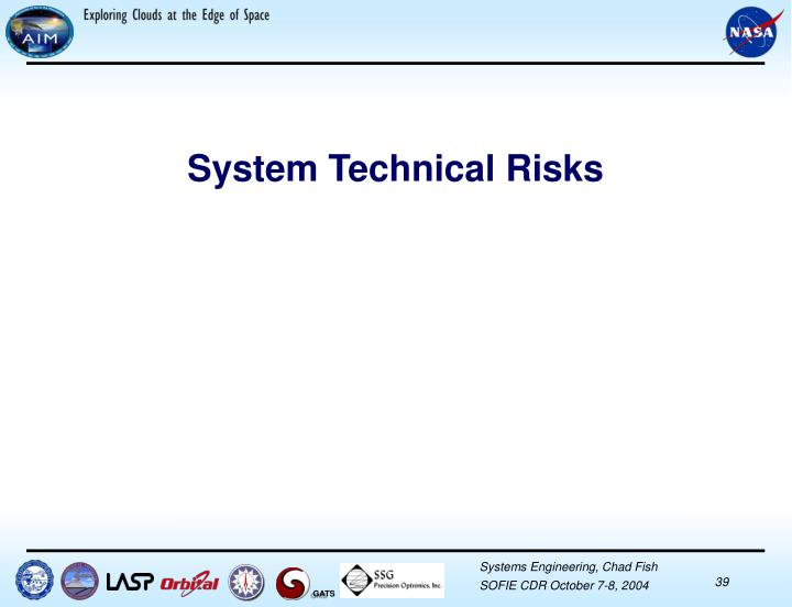 System Technical Risks