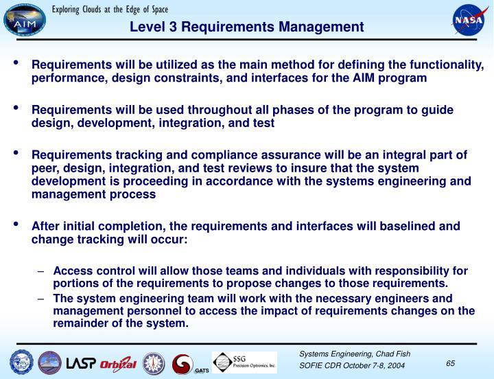 Level 3 Requirements Management
