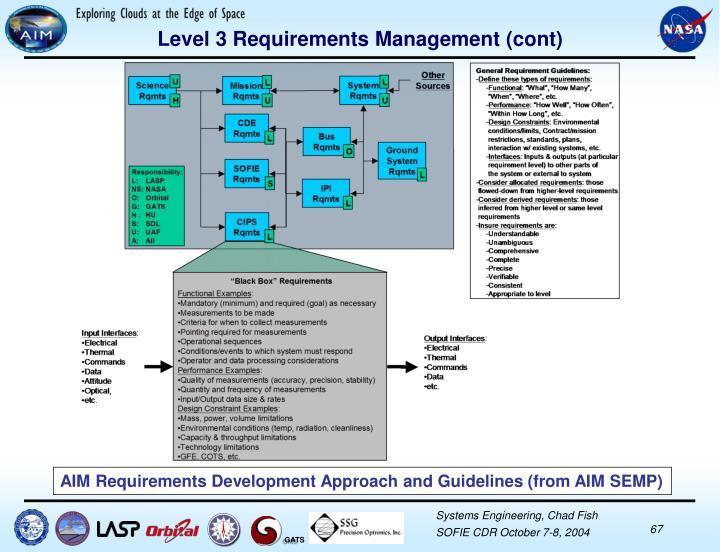 Level 3 Requirements Management (cont)