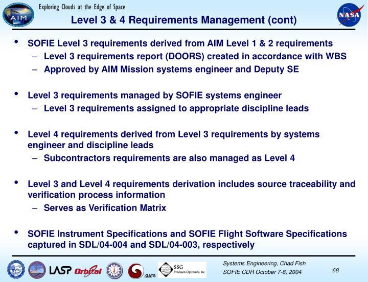 Level 3 & 4 Requirements Management (cont)